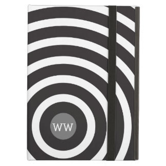 Modern Black and White Concentric Circles iPad Air Cover