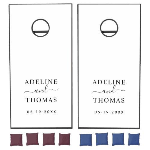 Modern Black and White Custom Wedding Monogram Cornhole Set