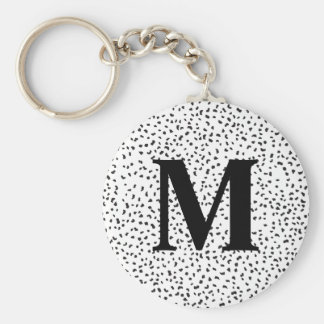 Modern Black and White Dalmatian Spots Keychain