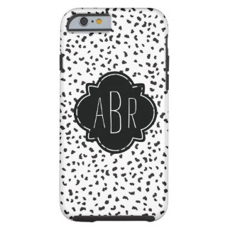 Modern Black and White Dalmatian Spots Monogrammed Tough iPhone 6 Case