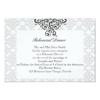 "Modern Black and White Damask Wedding Rehearsal 3.5"" X 5"" Invitation Card"