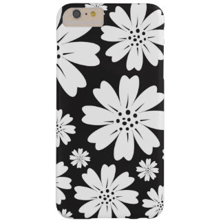 Modern Black And White Ditsy Floral Pattern Barely There iPhone 6 Plus Case