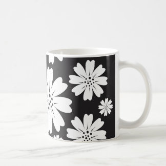Modern Black And White Ditsy Floral Pattern Mugs