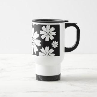 Modern Black And White Ditsy Floral Pattern Coffee Mug