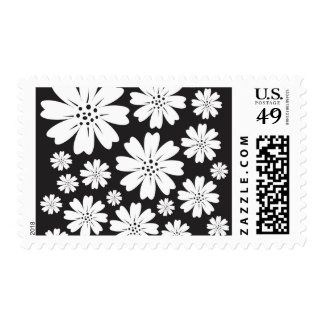 Modern Black And White Ditsy Floral Pattern Postage Stamps
