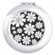 Modern Black And White Ditsy Floral Pattern Vanity Mirror