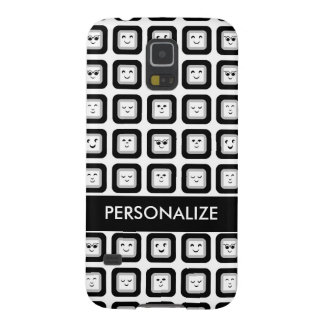 Modern Black and White Emoticon Tiles With Name Galaxy S5 Case