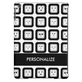 Modern Black and White Emoticon Tiles With Name iPad Air Case