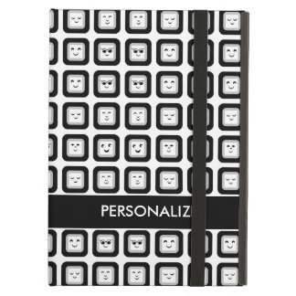 Modern Black and White Emoticon Tiles With Name iPad Air Cases