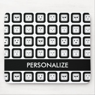 Modern Black and White Emoticon Tiles With Name Mouse Pad