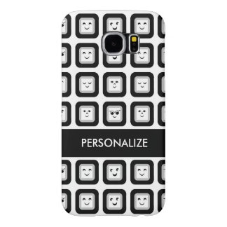 Modern Black and White Emoticon Tiles With Name Samsung Galaxy S6 Cases