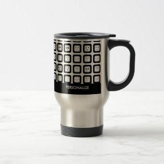 Modern Black and White Emoticon Tiles With Name Travel Mug