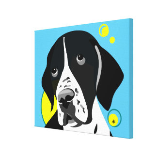 Modern Black and White English Pointer Canvas Art