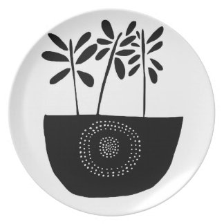 Modern Black and White Floral Plate