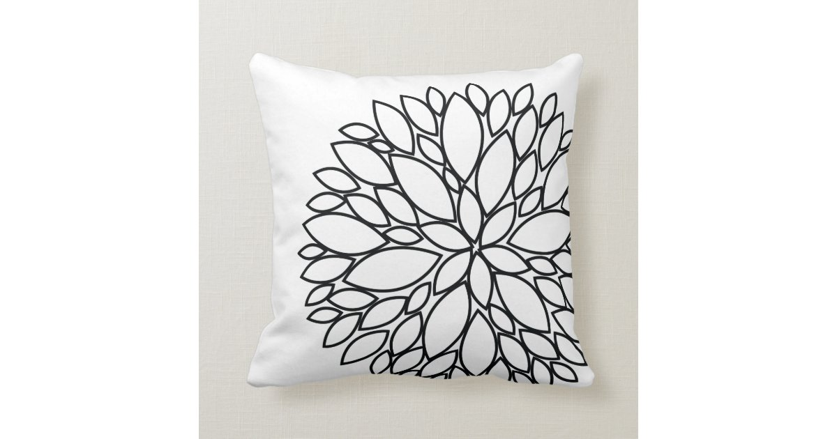 MODERN BLACK AND WHITE FLOWER PILLOW Zazzle