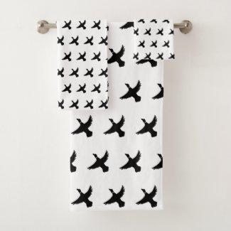 Modern Black and White Flying Duck Bath Towel Set