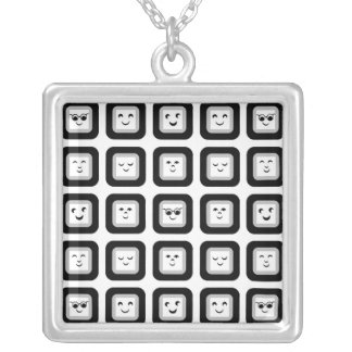 Modern Black and White Geometric Emoticon Tiles Silver Plated Necklace