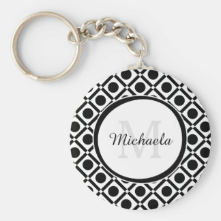 Modern Black and White Geometric Monogram and Name Basic Round Button Keychain
