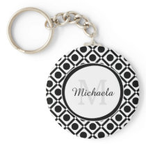 Modern Black and White Geometric Monogram and Name Keychain