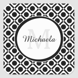 Modern Black and White Geometric Monogram and Name Square Sticker