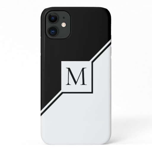 Modern black and white geometric monogram iPhone 11 case