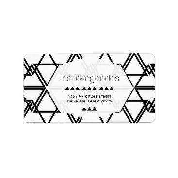 Beach Themed Modern Black and White Geometric Wedding Address Label