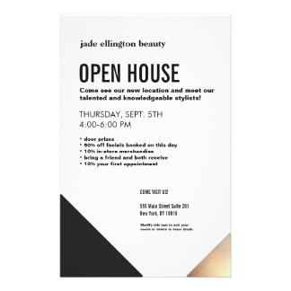 Modern Black and White, Gold Accent Beauty Salon Flyer