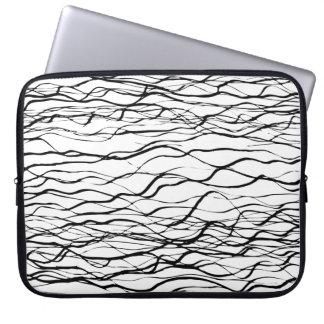 Modern Black and White Graphic Line Art Neoprene Laptop Sleeve