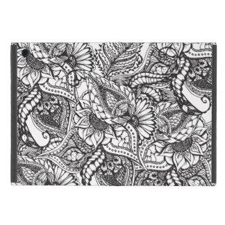Modern black and white hand drawn floral pattern iPad mini case