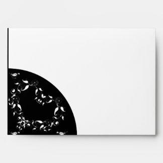 Modern Black and White Heart Envelope