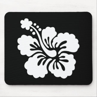 Modern Black and White Hibiscus Mouse Pad
