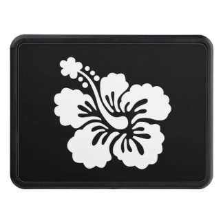Modern Black and White Hibiscus Trailer Hitch Cover