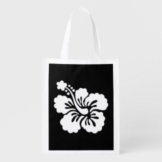 Modern Black and White Hibiscus Reusable Grocery Bag