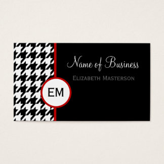 Modern Black and White Houndstooth Monogram Business Card