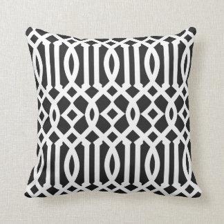 Modern Black and White Imperial Trellis Throw Pillow