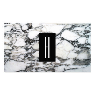 Modern Black and White Marble Stone, Monogram 2 Business Card
