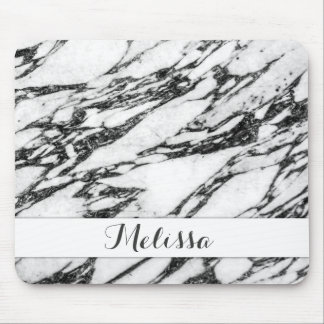 Modern Black and White Marble Stone Monogram Mouse Pad