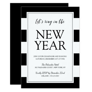 modern black and white new years eve party invite