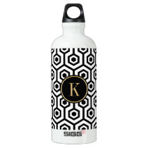 Modern Black And White Octagon Pattern Gold Accent Aluminum Water Bottle