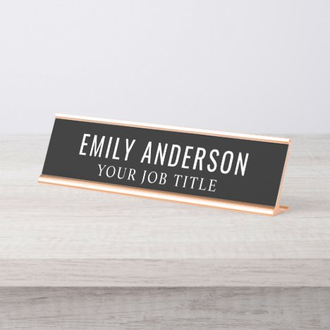 Modern Black and White Office Employee Desk Name Plate