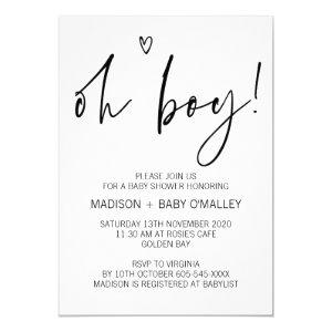 Modern Black and White Oh Boy Baby Shower Invites