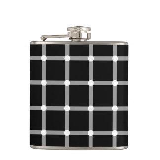 Modern Black and White Optical Pattern Hip Flasks