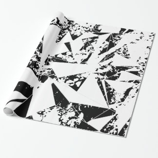 Modern Black and White Paint Splattered Triangles Wrapping Paper