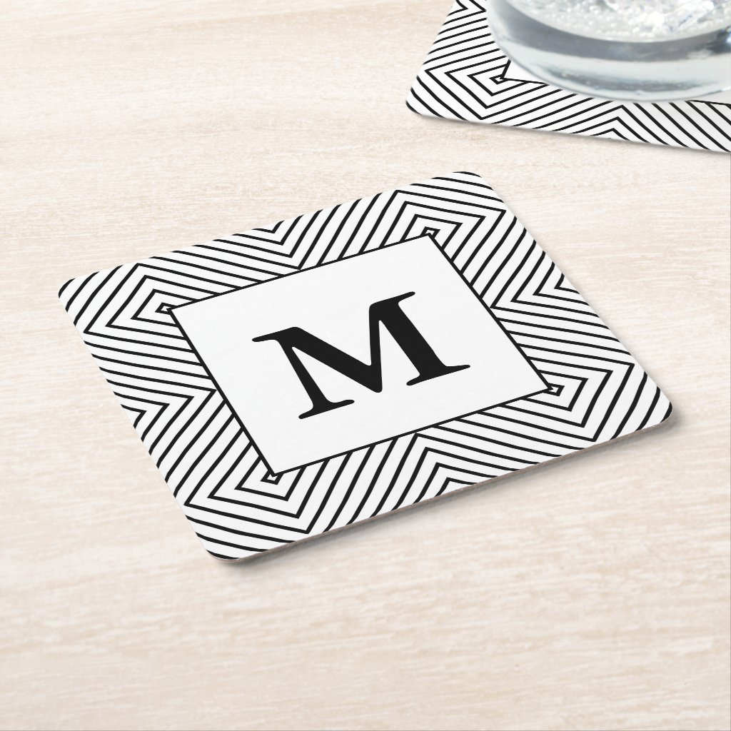 Modern Black and White Pattern, Monogram Coaster
