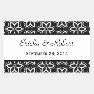 Modern Black and White Pattern Wedding V02 Rectangular Sticker