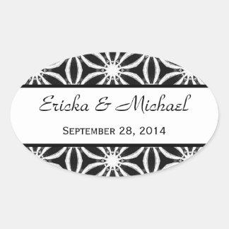 Modern Black and White Pattern Wedding V03 Oval Sticker