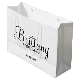 Modern Black and White Personalized Bridesmaids Large Gift Bag