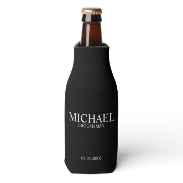 manadesignco Modern Black and White Personalized Groomsman Bottle Cooler
