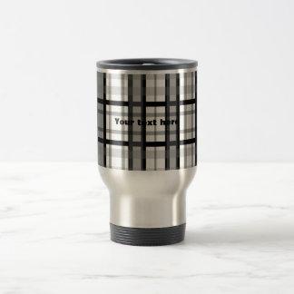 Modern black and white plaid 15 oz stainless steel travel mug