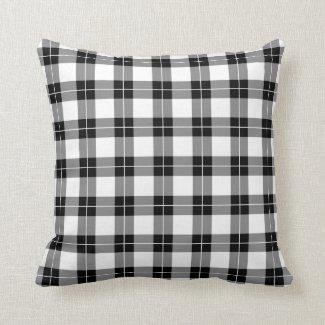 Modern Black and White Plaid Pattern Throw Pillow